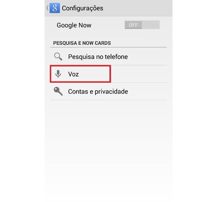 Configuração de voz do aplicativo (Foto: Reprodução/Lívia Dâmaso)