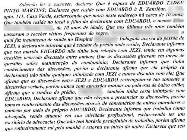 Trecho do depoimento da advogada Ieda Martins (Foto: Reprodução)