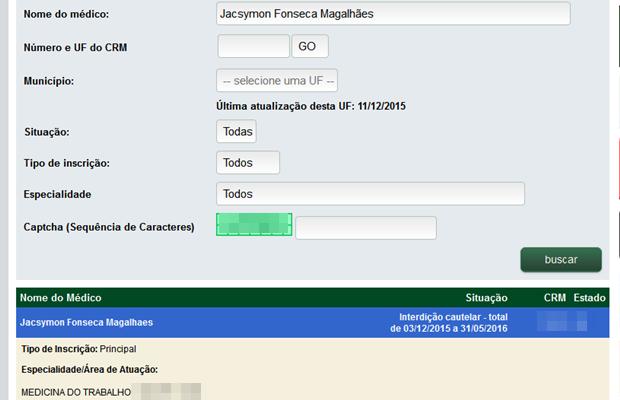 Interdição de registro de Jacsymon Fonseca Magalhães pode ser consultada no site do Cremego, em Goiás (Foto: Reprodução)