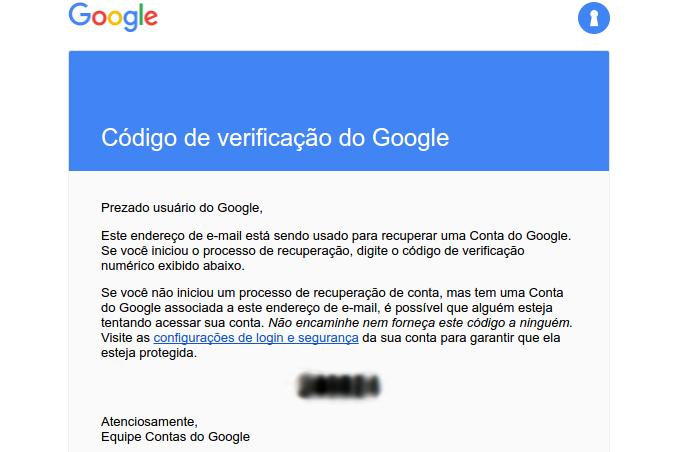 Recebendo o código de verificação no e-mail (Foto: Reprodução/Edivaldo Brito)