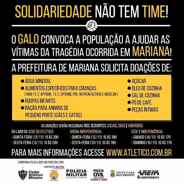 Atlético-MG entra na campanha para arrecadar doações aos moradores de Mariana (Foto: Divulgação/CAM)