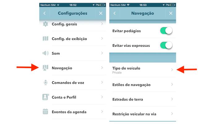 Acessando as configurações para tipo de veículo no Waze para iPhone (Foto: Reprodução/Marvin Costa)