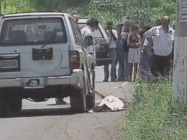 Nicole ficou presa ao cinto de segurança e foi arrastada até a morte (Foto: Reprodução/EPTV)