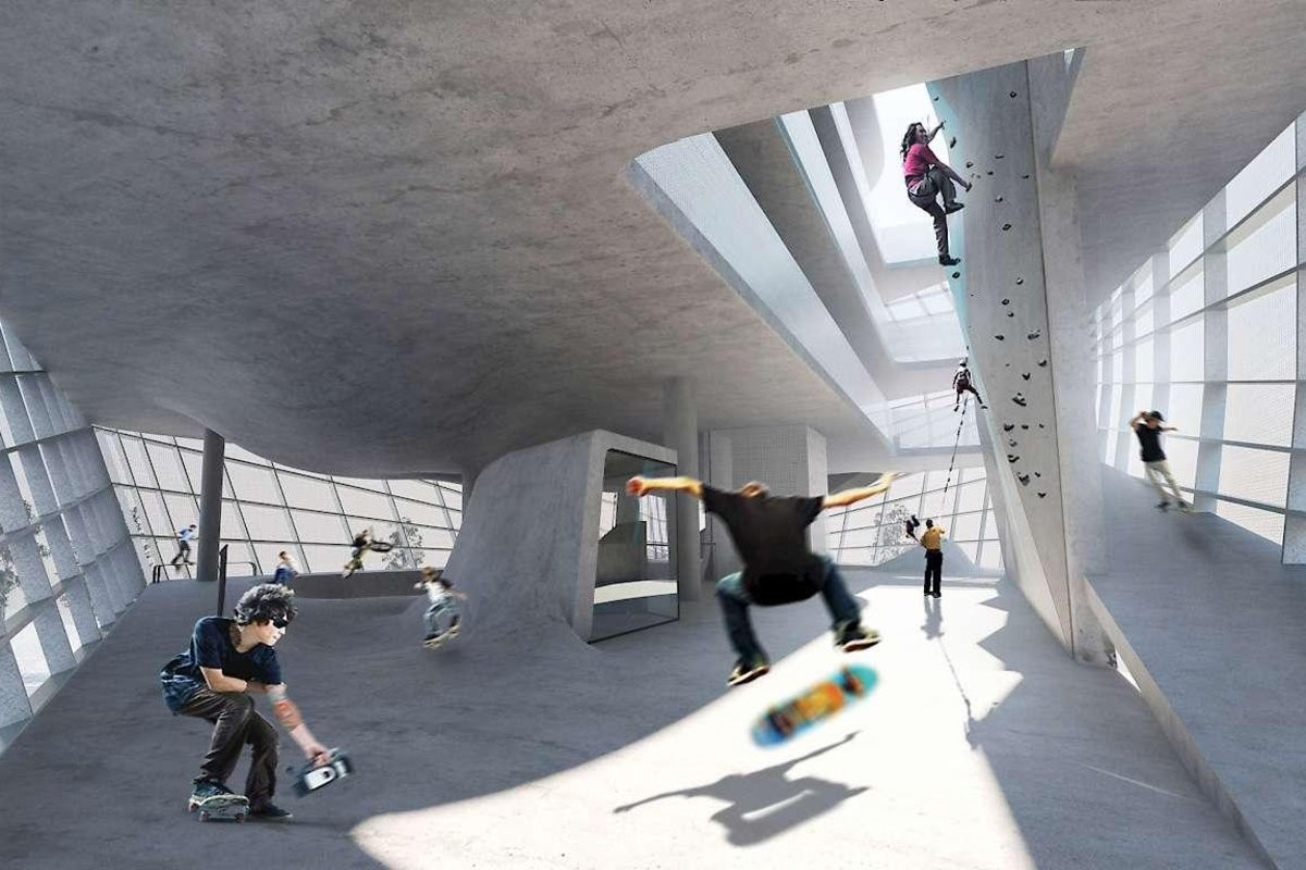 Espao ainda vai ter uma parede de escalada de 11 metros (Foto: Divulgao/Guy Hollaway Architects)