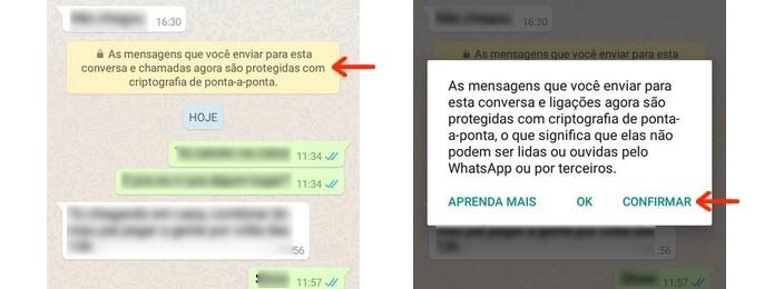Abertura da tela Verificar código de segurança através da mensagem enviada pelo WhatsApp (Foto: Reprodução/Raquel Freire)