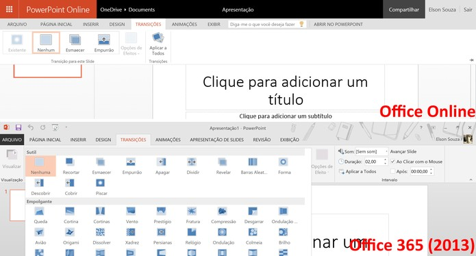 PowerPoint Online traz um número inferior de transições de slides e animações (Foto: Reprodução/Elson de Souza)