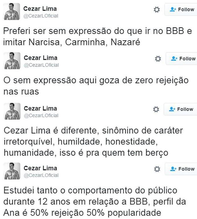 post cezar lima ana paula bbb16 (Foto: web)