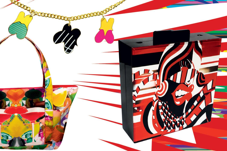 Dois destaques da parceria de Maria Brito e AVAF: à direita, clutch Madame Blindfolded (US$ 350); e a bolsa de praia Radiant Splatter (US$ 263) (Foto: Divulgação)