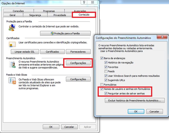 Armazenamento de senha no Internet Explorer (Foto: Reprodução/ Marcela Vaz)