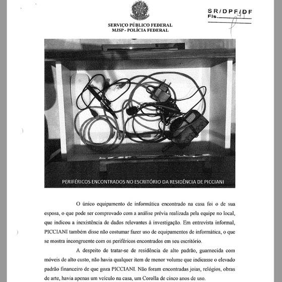 Trecho de relatório da PF sobre busca e apreensão contra Jorge Picciani (Foto: Reprodução)