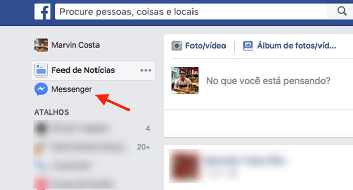 Link para acessar a página de mensagens do bate papo do Facebook (Foto: Reprodução/Marvin Costa)