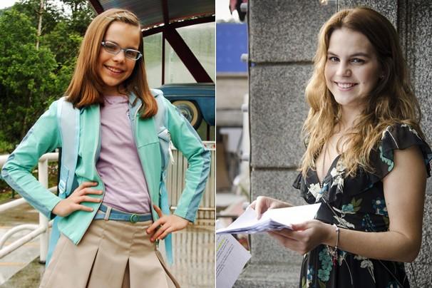 Bianca Salgueiro como Clara, em Clara e o Chuveiro do Tempo (2006), e como Anita (Foto: Globo)