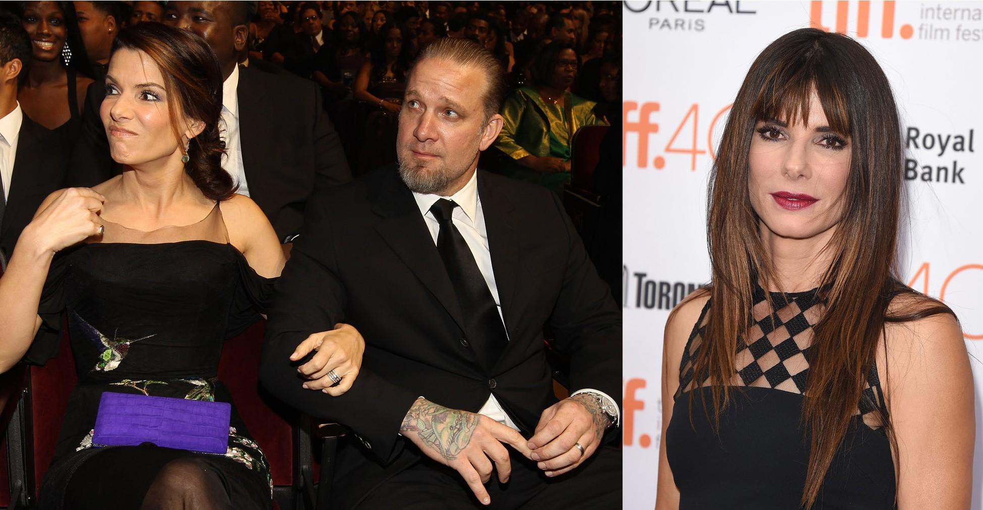 Sandra Bullock e Jesse James em 2010. E Sandra Bullock em 2015 (Foto: Getty Images)