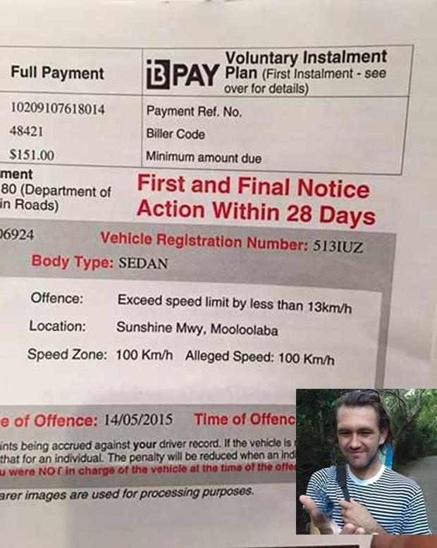 Jovem foi multado por dirigir a 100 km/h em área com limite de 100 km/h (Foto: Reprodução/Facebook/Zac Murray)