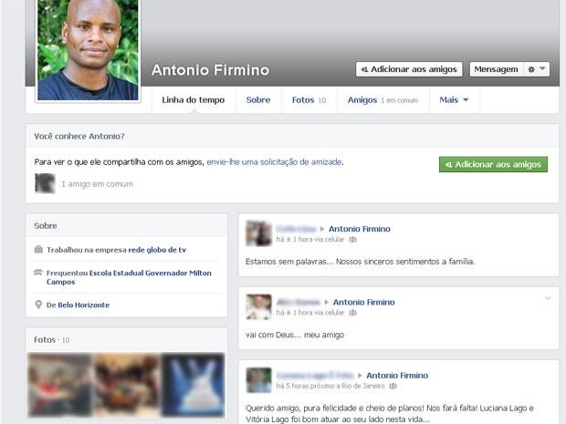 Amigos lamentam morte do ator Antonio Firmino no Facebook. (Foto: Reprodução/Facebook)