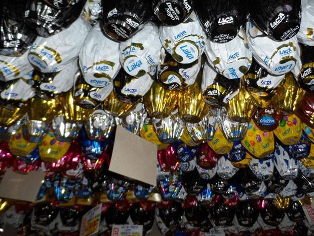 Ovos de páscoa em supermercado (Foto: Lilian Quaino/G1)
