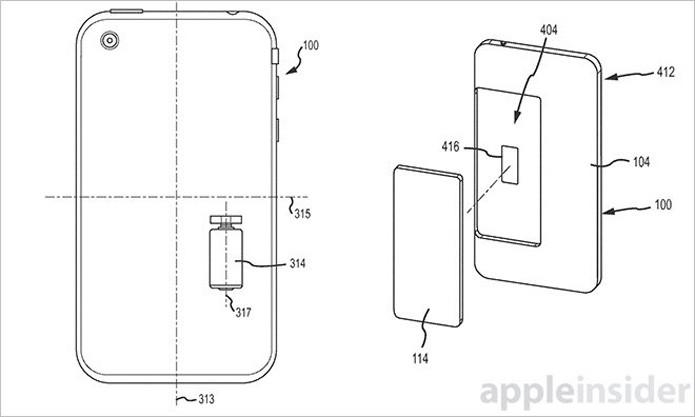 Esquema mostra a disposição dos sensores e do motor responsável por garantir quedas mais suaves ao iPhone (Foto: Reprodução/AppleInsider)