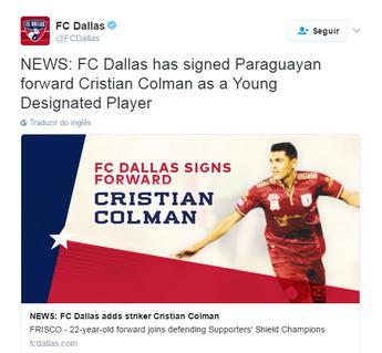 FC Dallas anuncia Colmán (Foto: Reprodução Twitter)