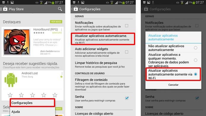 Acesse as configurações do app Play Store e selecione as opções em destaque para alterar seu sistema de atualização (Foto: Reprodução/Daniel Ribeiro)