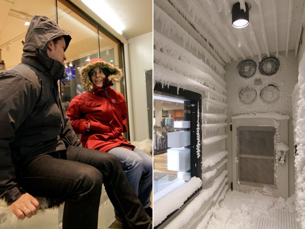Casal testa casacos em ambiente gelado; à dir., câmara polar (Foto: Divulgação/Globetrotter.de)