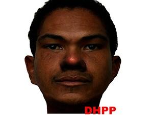 Segundo a polícia, o suspeito é moreno escuro, magro e tem aproximadamente 1,90m de altura (Foto: Divulgação/DHPP)