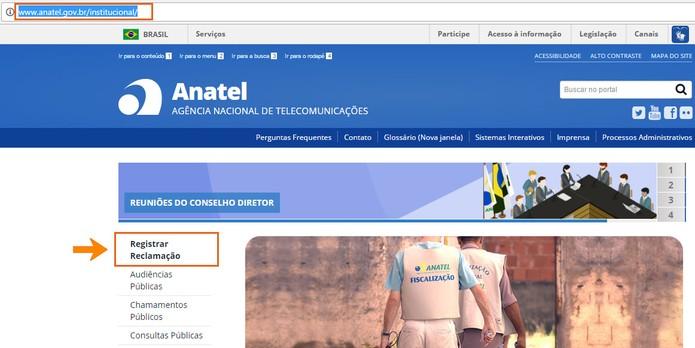 Clique para registrar a reclamação na Anatel pelo computador (Foto: Reprodução/Barbara Mannara) (Foto: Clique para registrar a reclamação na Anatel pelo computador (Foto: Reprodução/Barbara Mannara))