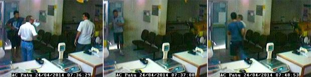 Imagens da ação dos criminosos foram gravadas pelas câmeras da agência dos Correios, em Patu (Foto: Reprodução/Inter TV Cabugi)