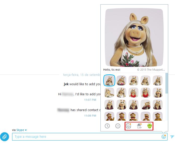 Abas com Mojis foram adicionadas há pouco no aplicativo (Foto: Reprodução/Skype)