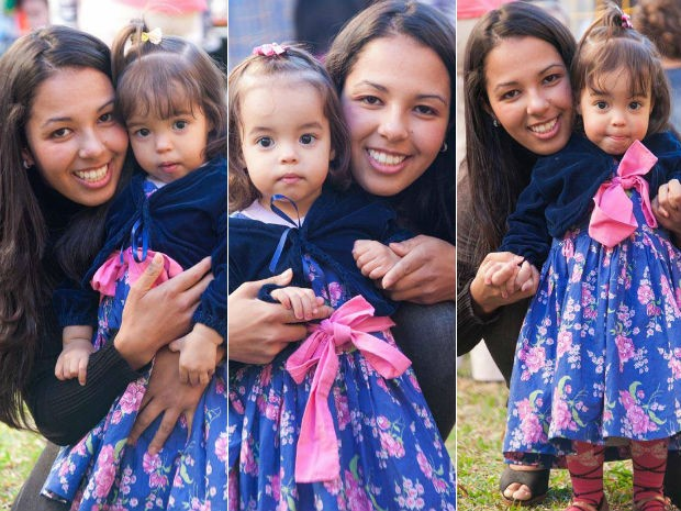 """""""Ser mãe, e ser mãe das três, me fez uma pessoa melhor"""", afirma Pamela (Foto: Pâmela Nunes de Lara/Arquivo pessoal)"""