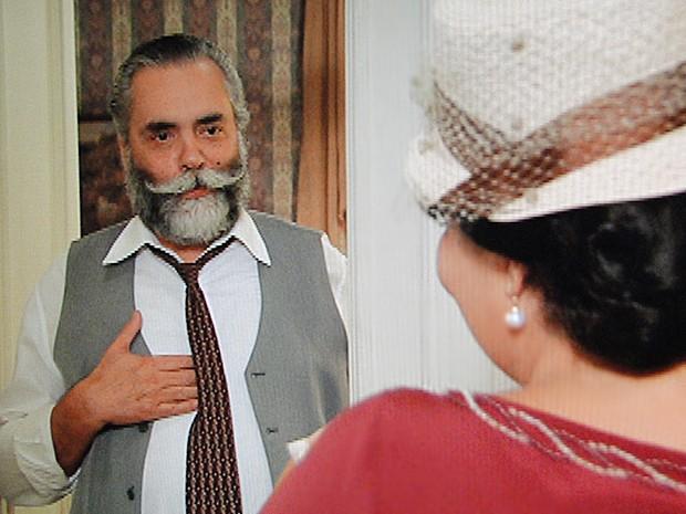Ezequiel fica surpreso com visita (Foto: Gabriela/TV Globo)