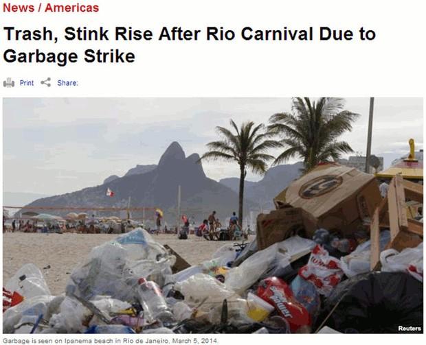 Imprensa noticia problema do lixo no Rio. (Foto: Reprodução)