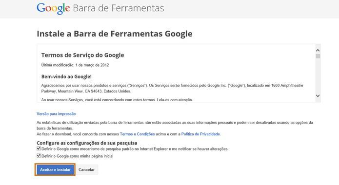 Aceite o termo de compromisso para iniciar o download da Barra de Ferramentas do Google (Foto: Reprodução/Barbara Mannara)