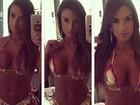 Nicole Bahls deseja bom dia na web exibindo corpão de biquíni