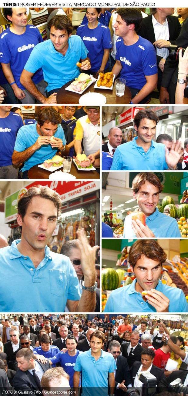 Montagem, Roger Federer, Mercado Municipal (Foto: Editoria de Arte / Globoesporte.com)