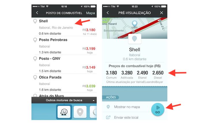 Conferindo preços de um posto de combustível através do Waze (Foto: Reprodução/Marvin Costa)