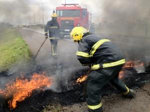 Bombeiros tentam apagar fogo em pneus que bloqueavam a pista (Foto: Lucas Nanini/G1)