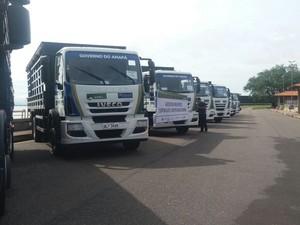 Veículos foram entregues pelo MDS a municípios do Amapá (Foto: Abinoan Santiago/G1)