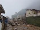 Deslizamento de rochas por conta da chuva deixa soterrados em Petrópolis