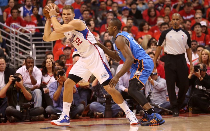 Blake Griffin e Serge Ibaka, Thunder x Clippers (Foto: Getty)