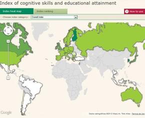 Mapa mostra índice global de desempenho educacional, que varia do pior (branco) para o melhor (verde escuro) (Foto: Reprodução)