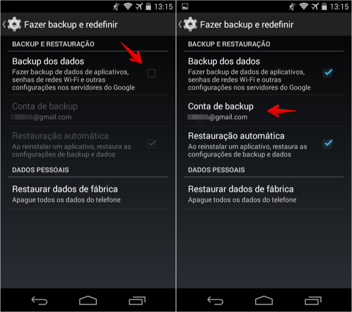Configurando o backup do Android (Foto: Reprodução/Helito Bijora)