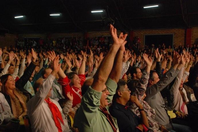 Público animado compareceu à gravação do Galpão Crioulo em Pejuçara (Foto: Tobias Zamberlan/Prefeitura de Pejuçara)