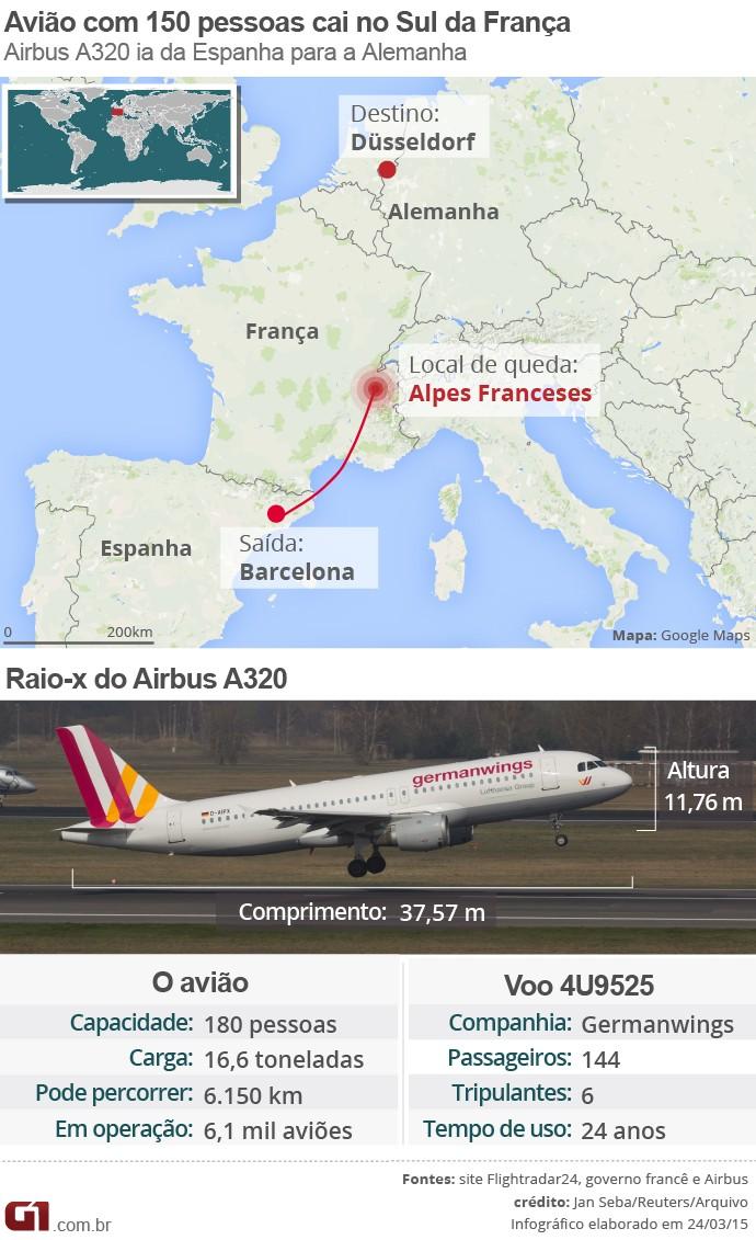 Arte (690px) - queda do avião na França e raio-x do Airbus A320 (Foto: Arte/G1)