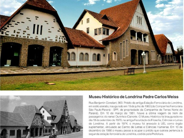 Exposição apresenta fotos atuais e antigas de importantes espaços da cidade, como o Museu Histórico, antiga estação ferroviária (Foto: Rodrigo Saviani/G1)