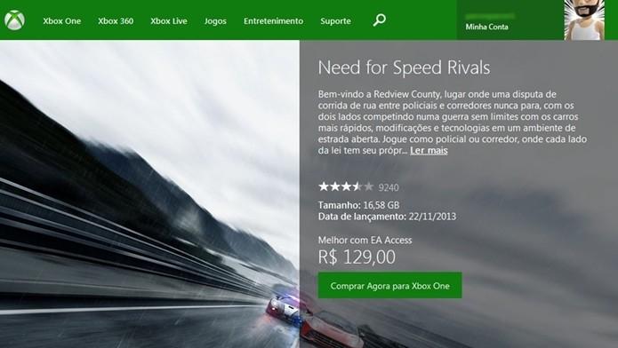 O Xbox Marketplace também pode ser acessado via PC (Foto:Reprodução/Cássio Barbosa)