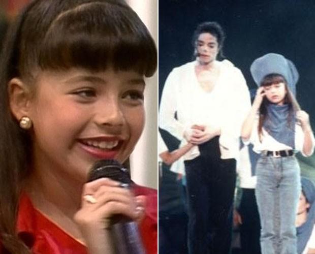 Sandy no palco com Michael Jackson na infância (Foto: Divulgação)