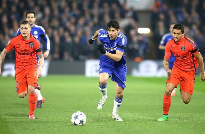 Diego Costa Chelsea X PSG (Foto: Agência AP )