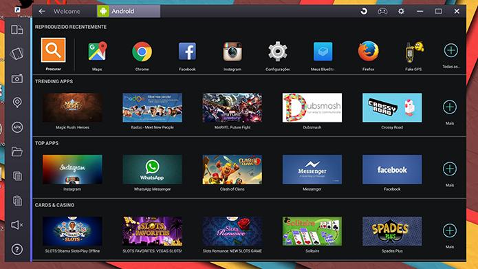 BlueStacks 2 pode ter aplicativo aberto a partir da tela inicial do usuário (Foto: Reprodução/Elson de Souza)