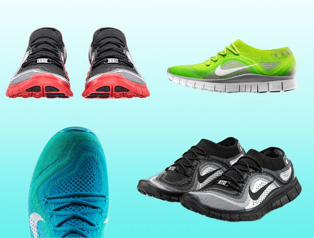 montagem tênis Nike Free Flyknit review Eu Atleta (Foto: Editoria de Arte)