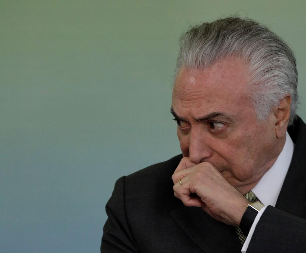 O presidente Michel Temer em cerimônia no Palácio do Planalto na última quinta (Foto: Ueslei Marcelino/Reuters)